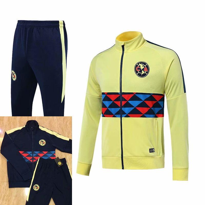 Club de Futbol America del maniche lunghe Giacca Kit maglia da calcio uniforme di formazione giallo blu 2019 2020 Tute Calcio Jacket + Pants