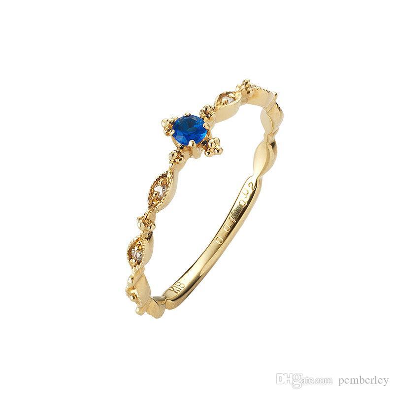 R530 luxus Trauringe schmuck weiblichen Neuen Stil dünne blaue quadratische Ringe Für Frauen gold Farbe weiß rystal größe