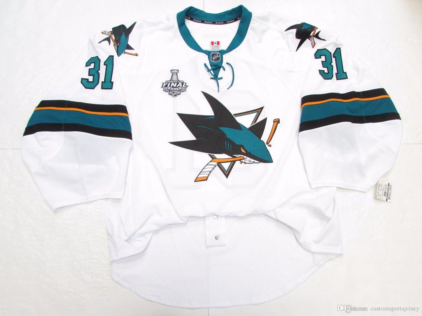 Cheap personalizzato JONES SAN JOSE SHARKS LONTANO 2016 Stanley Cup MAGLIA PORTIERE CUT 58 punto aggiungere qualsiasi numero qualsiasi nome Mens Hockey Jersey