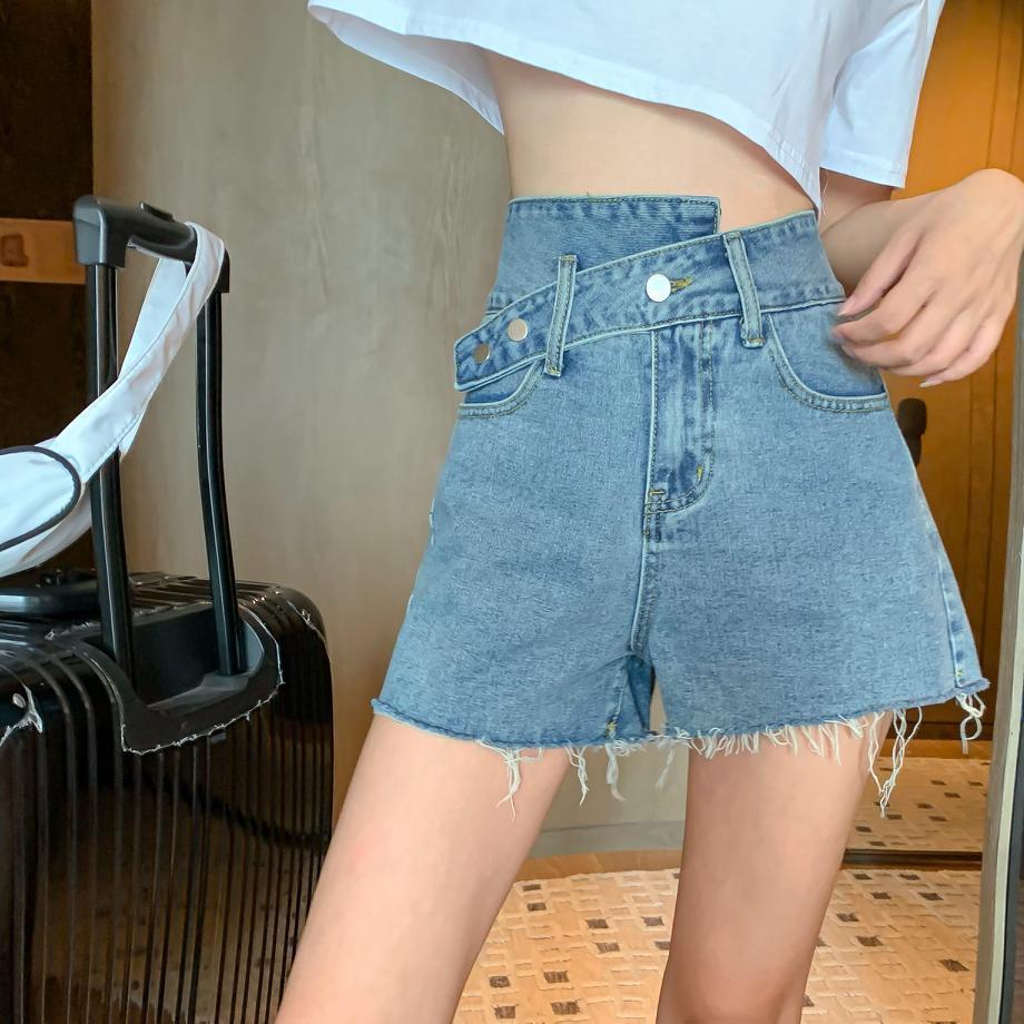 jeans delle donne estate 2020 New Hong Kong Irregular Style dislocazione vita alta increspature Slim pantaloni larghi del piedino