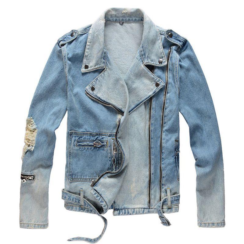 Sokotoo 남성의 구멍 스트리트 지퍼 칼라 데님 코트 겉옷 거절 오토바이 블루 진 바이커 재킷을 찢어