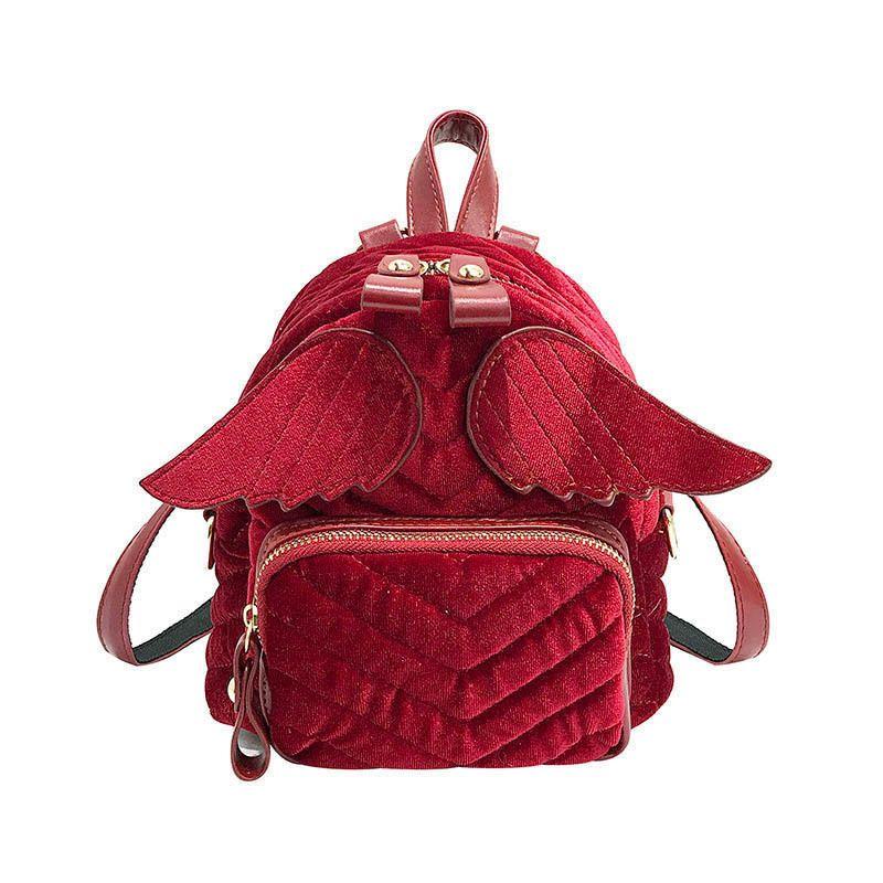 f10e13a42ca9 good quality Designer Striped Wings Backpack Fashion Women Mini Velvet  Backpack Daily Shoulder Bag Children Girl School Backpack