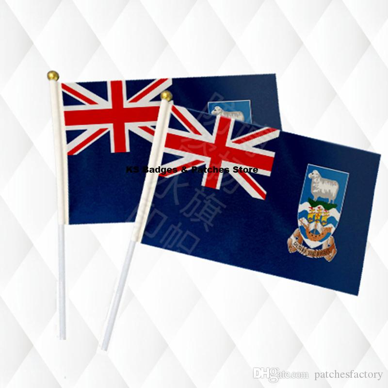 Фолклендские ручной палку ткань флаги безопасности мяч верхней рукой национальные флаги 14 * 21 см 10 шт. много