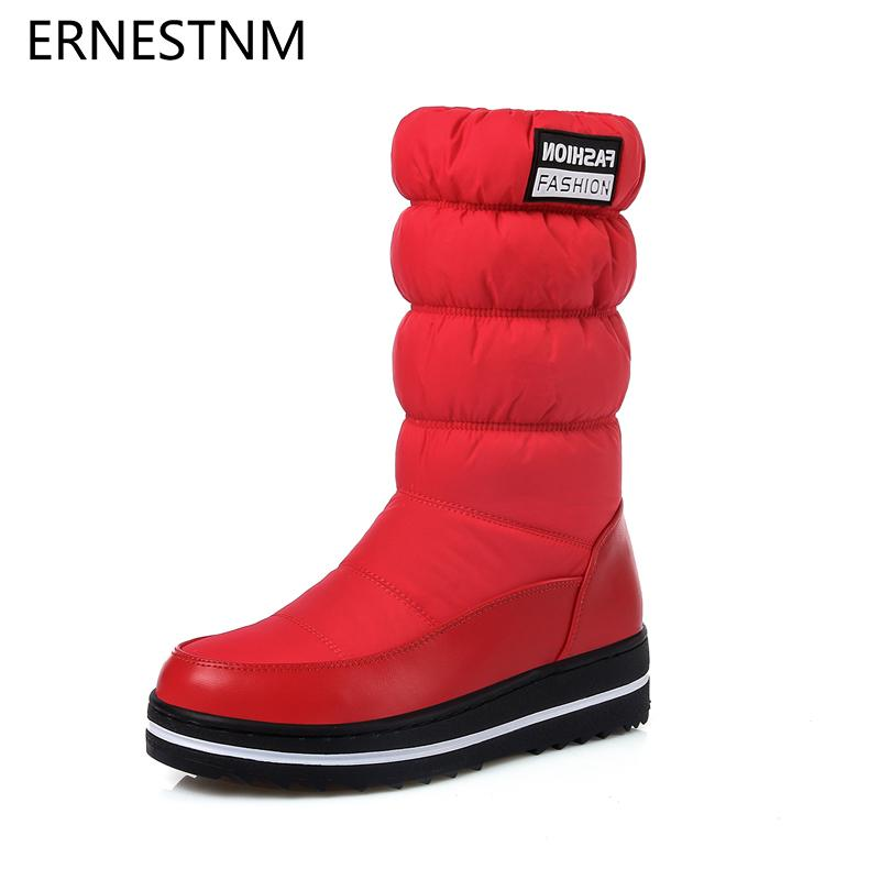ERNESTNM Winter Snow Boots Women Warm Plush Mid-calf Shoes Waterproof Boot Fur Platform Boots Red Elastic Sleeve Plus Size 35-44 LY191224