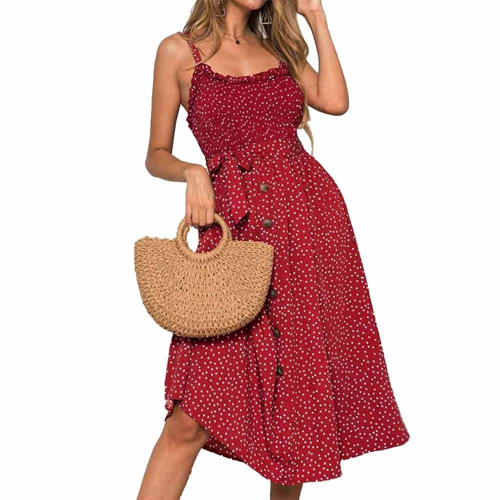Sexy Sommer-Kleid-Frauen-Bogen-Knopf Ärmel Spaghetti-Bügel lose gefaltete Polka beiläufigen langer Strand Backless Vestidos 2020 CX200615 dot