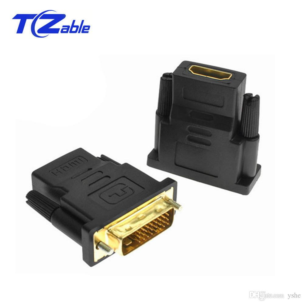 10pcs DVI To HDMI Adapter Connector 24+1 Gold Plated Plug Male To Female 1080P HDMI To DVI Cable Converter For HDTV Projector Monitor