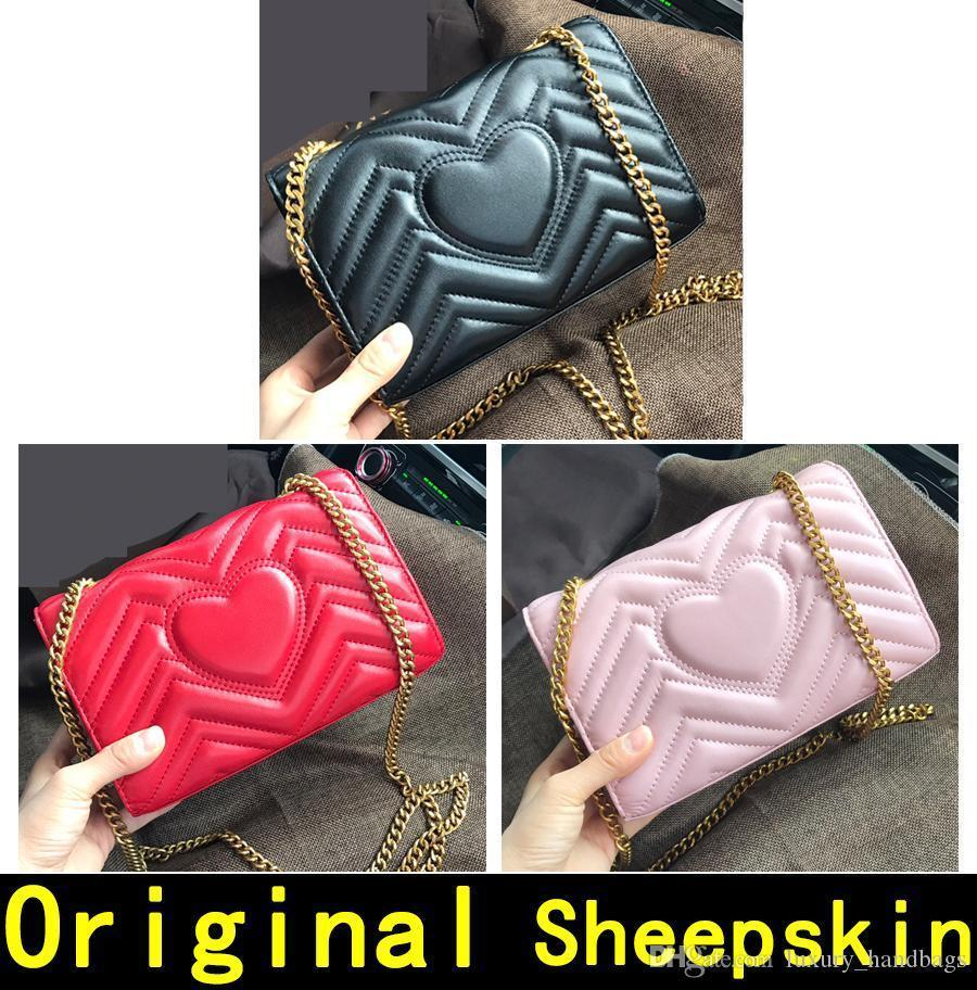 Marmont Original pele de carneiro Couro Designer bolsas de alta qualidade de Luxo Bolsas ouro mulheres cadeia ombro sacos vêm com caixa