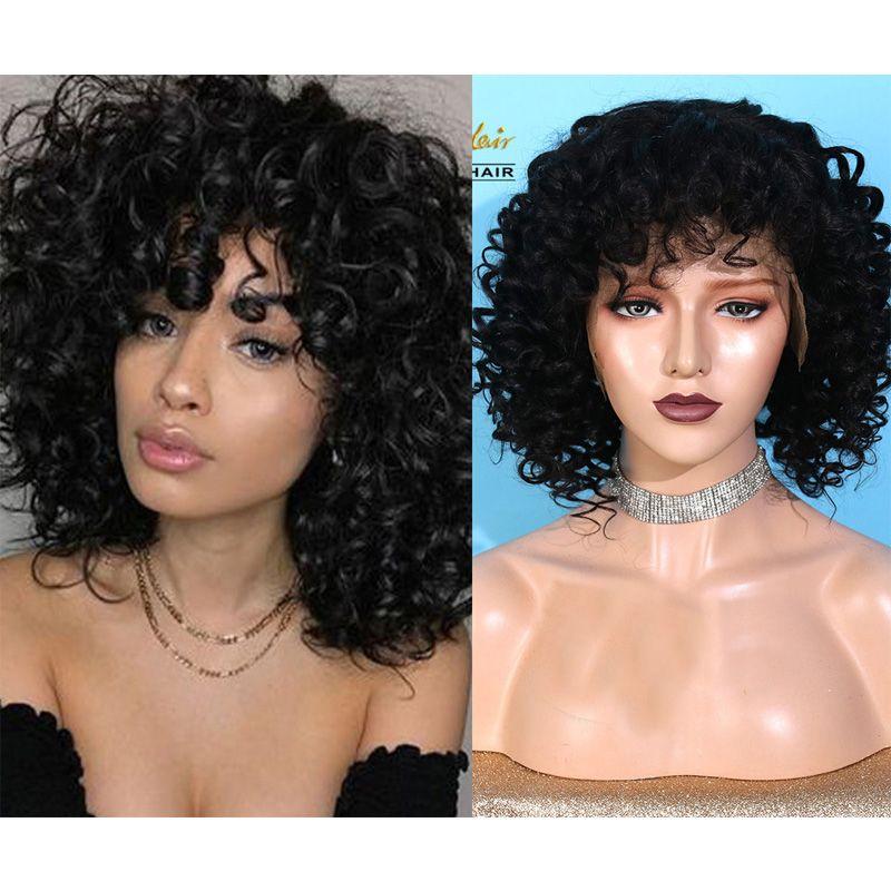 AIVA Couleur naturelle perruques de cheveux humains profonde Culy / droite perruques dentelle court Bob Glueless perruques dentelle Remy cheveux pour les femmes noires