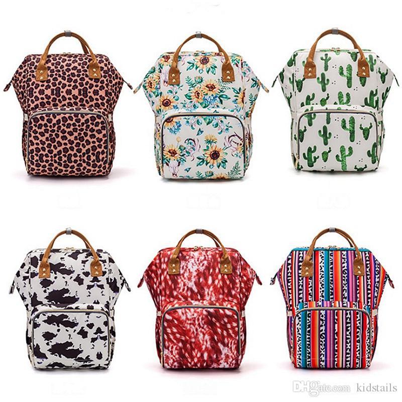 엄마 배낭 가방 해바라기 인쇄 기저귀 가방 방수 야외 간호 가방 여행 기저귀 백팩 패션 핸드백 토트 7 개 색상 DW4462