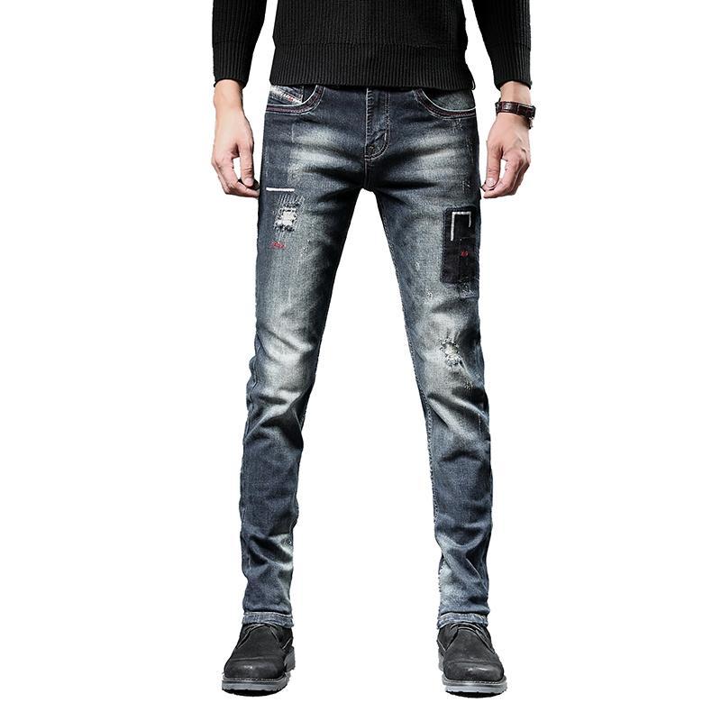 Avrupa Amerikan Tarzı gündelik Retro Jeans Erkekler yüksek kaliteli Stretch İnce Denim Jeans Erkek Pamuk sıkıntılı yırtık