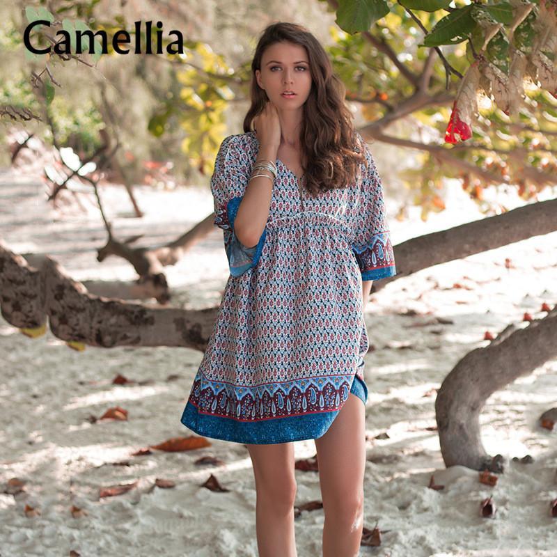 Женщины V Neck Summer Beach Vacation Мини платье Половина рукава Сыпучие богемское платье Line