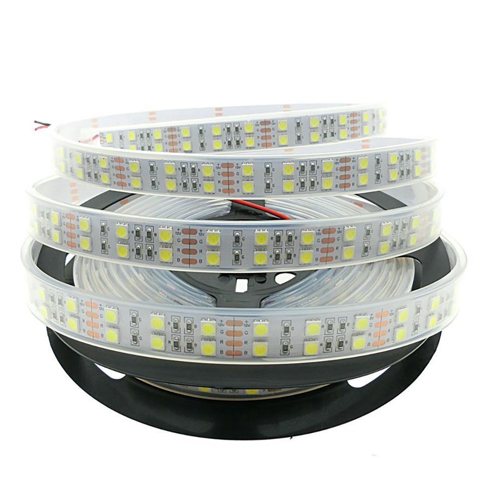 Şerit LED 5050 DC12V 120leds / m Silikon Tüp Su geçirmez Esnek LED Işık Çift Sıra 5050 Tatil Aydınlatma LED 5m / çok Şeritleri