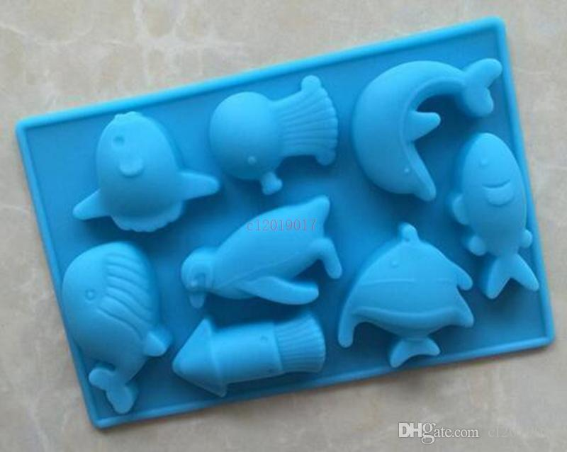 13.7x9.3cm DIY Silicone Mold The Sea World Dolphin and Fish Silicone Chocolate Mold Silicone Handmade Soap