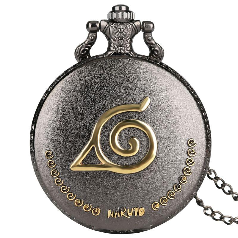 Klassische Naruto Quarz Taschenuhr Golden Relief mit Comic-Figuren Carving Anhänger Uhr für Freunde, Frauen, Damen