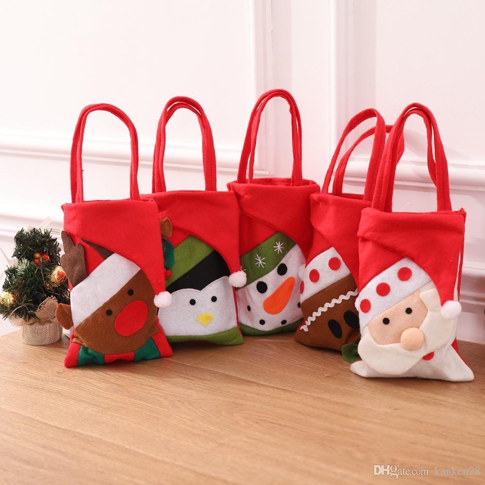 Ev Yılbaşı Şimdiki Paket Noel Baba Ev Navidad 42x21cm Fun Christma Şeker Çanta Çocuk Hediyeler Çanta Zarif Noel Partisi Dekoru