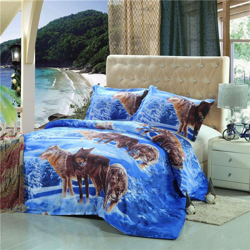 Snow wolf 3D Digital Printed Bedding Set Duvet Cover Design Bedclothes Home Textiles Bed Sheet Pillowcases Cover Set 3pcs be1328