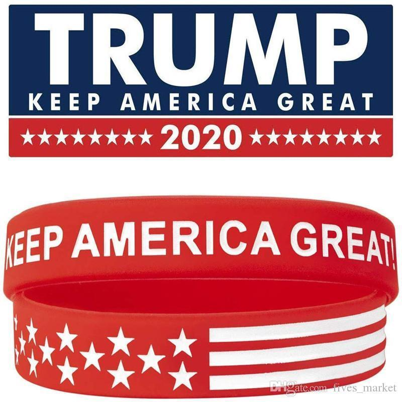 2020 Donald Trump Silicone Wristband Keep America Great American Flag Bracelets Soft And Flexible Wristband For Normal Day 500 pcsAN3234