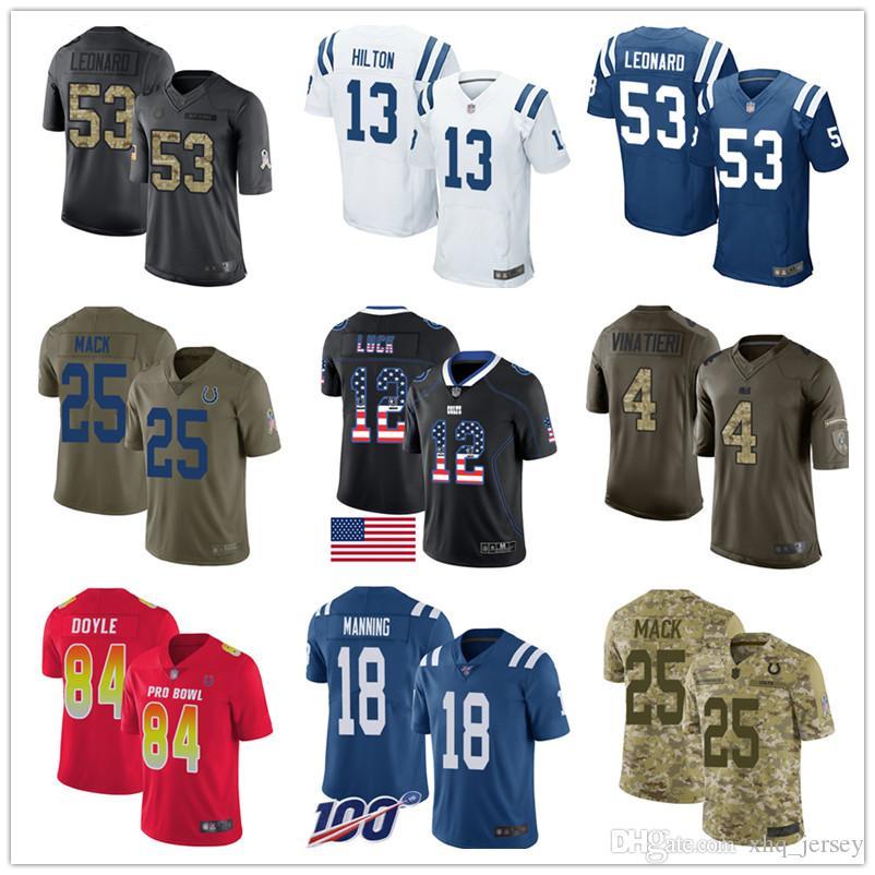 Indianapolis Colt Custom jerseys Andrew Luck T.Y. Hilton Darío Leonard Marlon Mack Jack Doyle Adam Vinatieri Mujeres Jóvenes Hombres fútbol