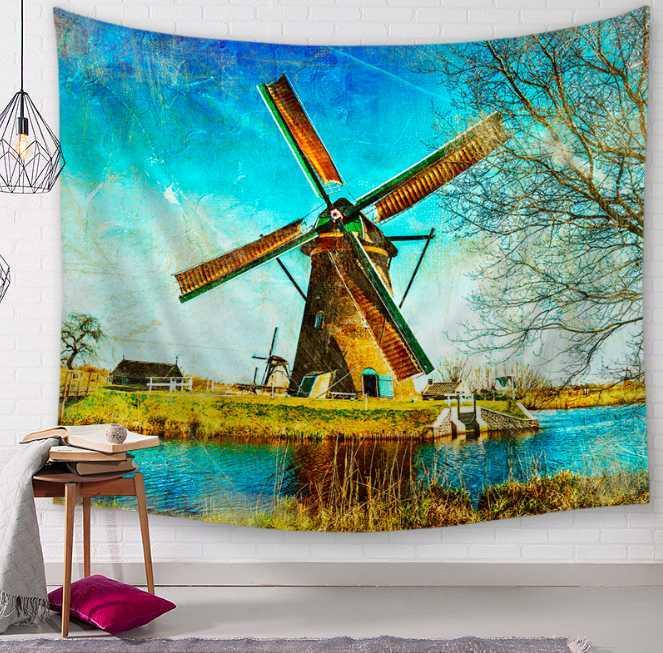 Dutch Windmill Venice Decorative Tapestries Bathroom Outdoor Tapestry Wall Hanging Sheet Picnic Cloth Home Decor Tablecloth