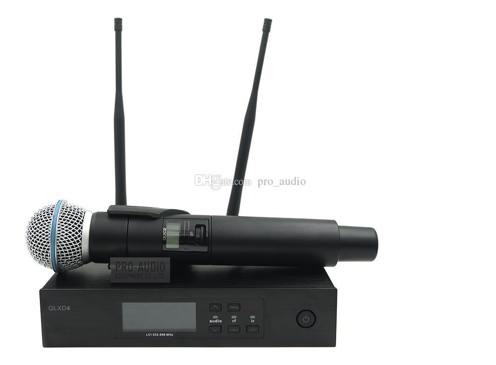 Sistema di microfono wireless professionale UHF QLXD4 con trasmettitore portatile QLX BETA58A per discorsi di karaoke vocale dal vivo