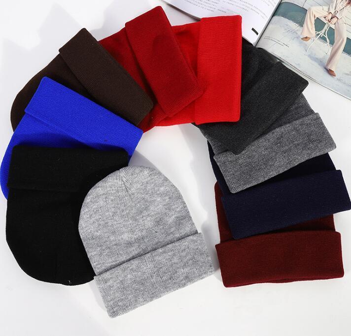 Gri siyah 23 Renkler Klasik Erkek Bayan Bayan Slouch Beanie Örme Oversize Beanie Kafatası Şapka Aşıklar kintted Cap Katı Beanie Caps Caps