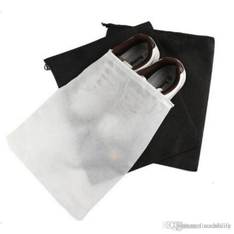 Zapato no tejido con cordón de Promoción de Viajes de almacenamiento de calzado a prueba de polvo de asas de la bolsa de polvo Caso Negro Blanco de la bolsa de asas de la bolsa de polvo a prueba de zapatos libre de Federal Express