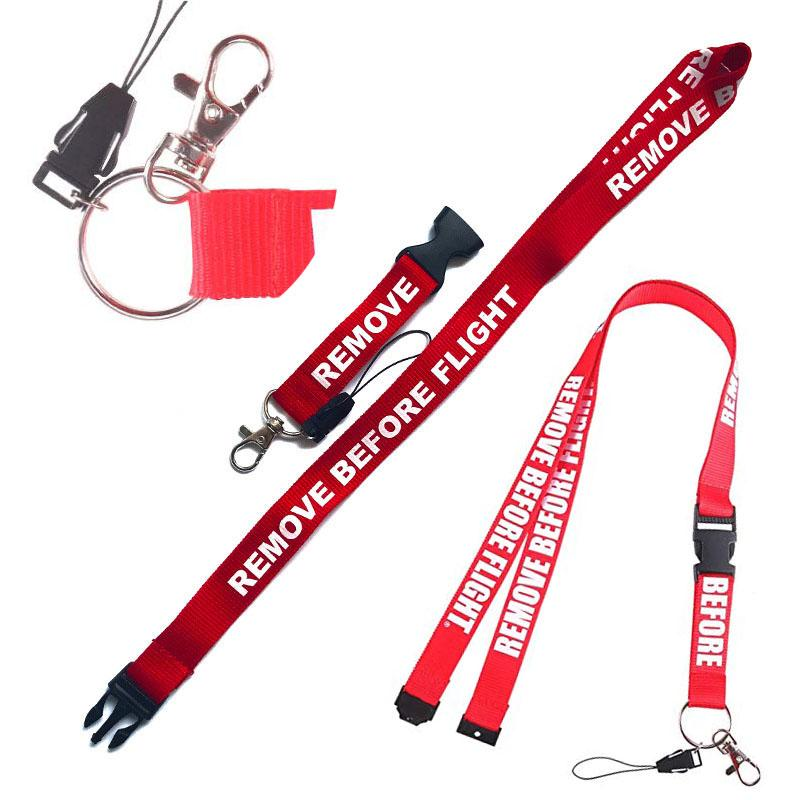 Fashion REMOVE BEFORE FLIGHT Lanyards Keychains Neck Strap Keyrings Hang Rope Keychain Simple Key Ring with Detachable Safety Buckle M212F