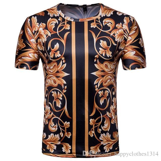 높은 품질의 빈티지 Barocco 인쇄 티셔츠 고급 남성 의류 여름 반팔 3D 인쇄 티 캐주얼 라운드 넥 플러스 사이즈 티셔츠