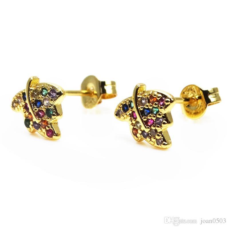 Boucle d'oreille petite feuille d'érable pave plaqué or Rainbow Cubic CZ boucle d'oreille Lady bijoux micro pave zircon boucle d'oreille