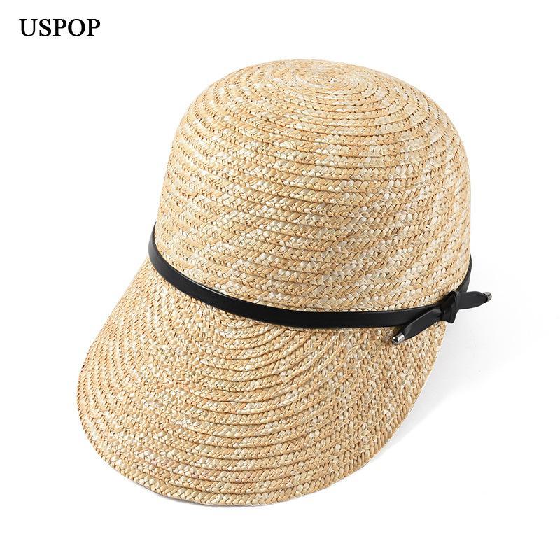Uspop 2019 New Women Visor Female Wide Brim Straw Hat Summer Shade Beach Cap Casual Leather Bow Sun Hats C19041201