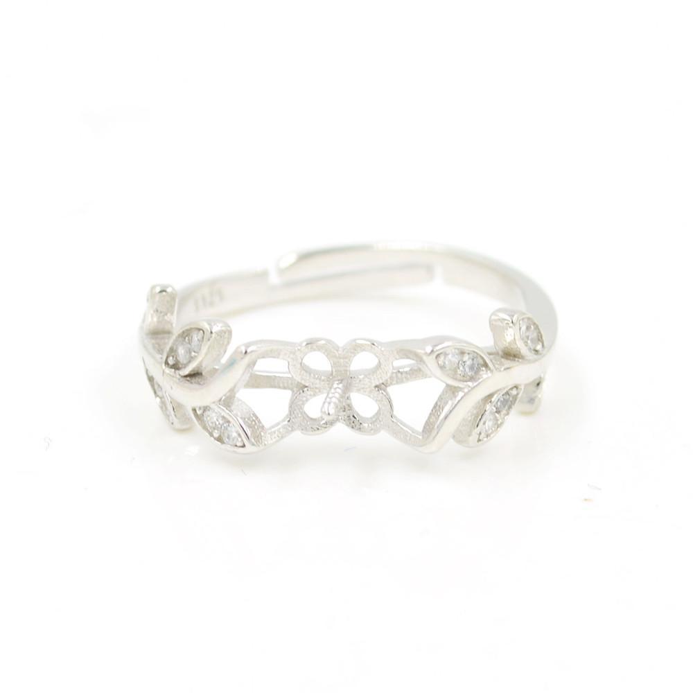 S925 стерлингового серебра кольцо крепления цветок лист кольца крепления для женщин ювелирные изделия из жемчуга diy бесплатная доставка регулируемый открытие кольцо