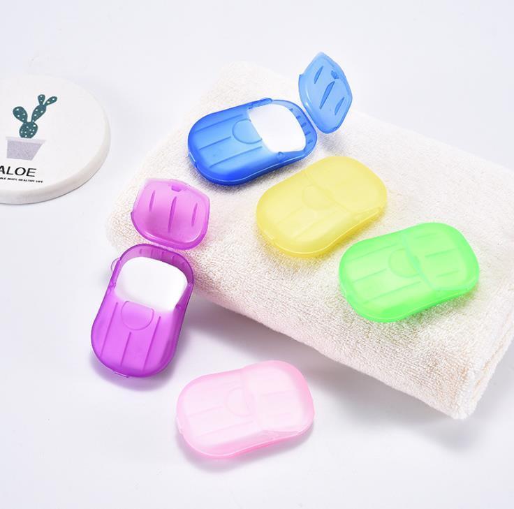 20PCS / caja desechable contra el polvo del mini recorrido del papel jabón de lavar a mano baño de limpieza en caja portátil que hace espuma de jabón Hojas de papel perfumados SN3077