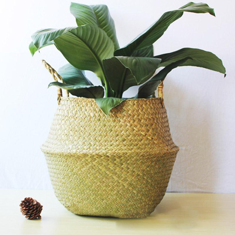 2019 Nordic style Handmade Storage Baskets Foldable Laundry Straw Patchwork Wicker Rattan Seagrass Belly Garden Flower Pot Planter Straw Bas