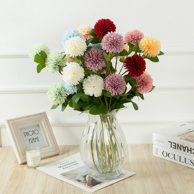 5Pcs yapay çiçekler 66 cm karahindiba top kasımpatı çiçek düğün dekorasyon yapay bitkiler bitkiler yeşillik faux
