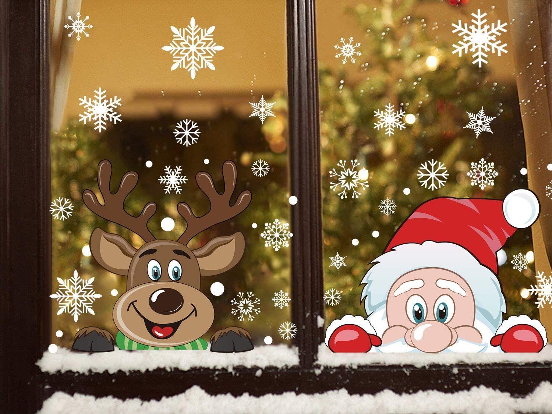 300 PCS 8 Hoja del copo de nieve de la ventana Cling Pegatinas para cristal, Navidad Adhesivos Decoración del copo de nieve Reno de Papá Noel Calcomanías f