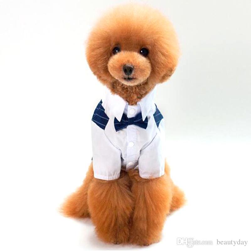 애완 동물 용품 작은 개 의류에 대 한 100 % 코 튼 애완 동물 강아지 양복 애완 동물 결혼식 줄무늬 신사 강아지 옷 강아지 셔츠 드레스