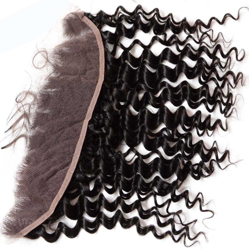 Deep Curly Lace Front vierge vierge brésilienne Cheveux Fermeture 4x13 pouce 10A 8 pouces à 22 pouces profonde dentelle frontale dentelle pièces de cheveux humains 1pc ordre d'échantillon