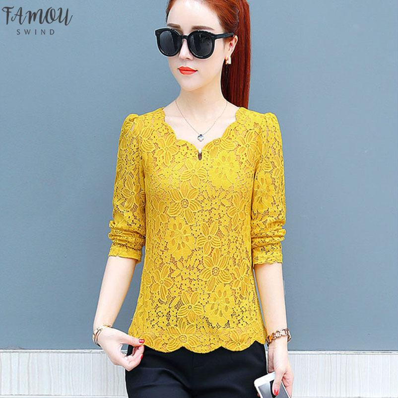 Tops Blusas Feminina coreano Primavera Outono Mulheres Vestidos Doce solta manga comprida Yellow Lace Shirts Feminino Df2247
