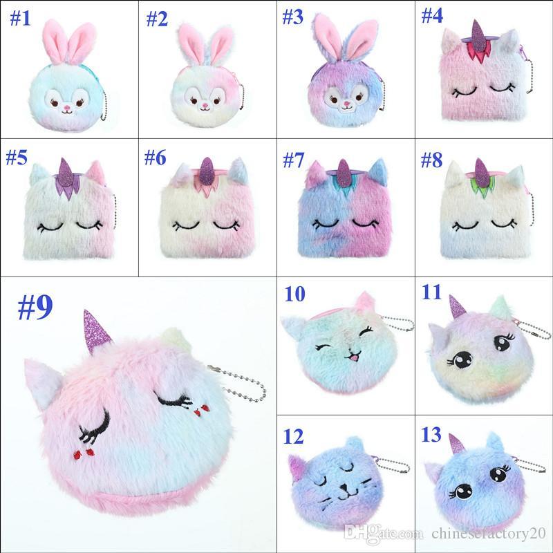 13 Renkler Kid Tavşan Peluş Madeni Para Çanta Öğrenci Kız Değişim Çanta Karikatür Kedi Unicorn Unisex Açık Kozmetik Çanta