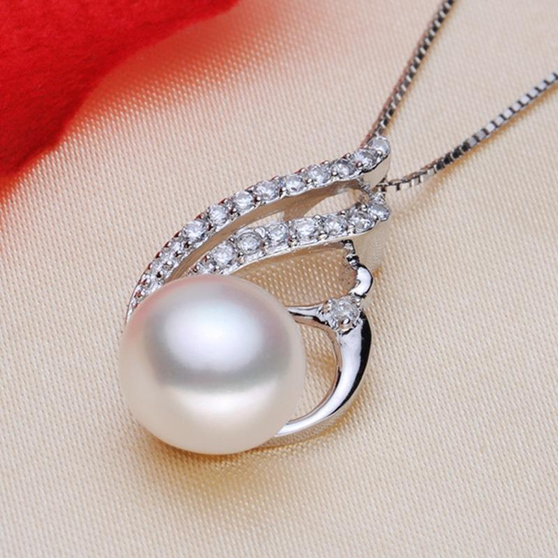 ASHIQI Real 925 Sterling Silver Chain Pendant Necklace White Natural Freshwater pearl Jewelry for Women Gift