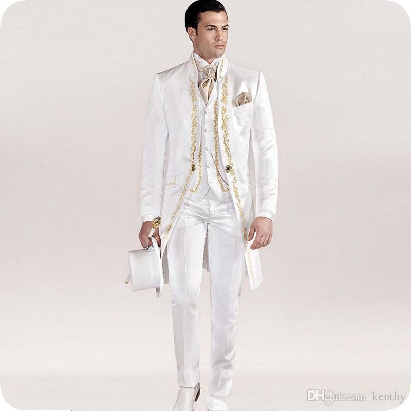 Baskı Tailcoat Erkekler Düğün için Beyaz Desen Damat Giymek Damat Düğün Düğün Smokin Özel 3 Adet Kostüm Homme Son Tasarımlar Uzun Erkek Blazer