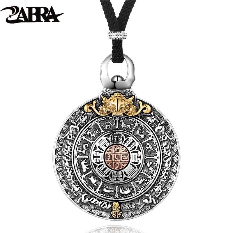 زابرا الدين أصيلة 925 فضة جولة قلادة قلادة الرجال الصينية زودياك علامات خمر المعلقات مجوهرات للذكور J190712
