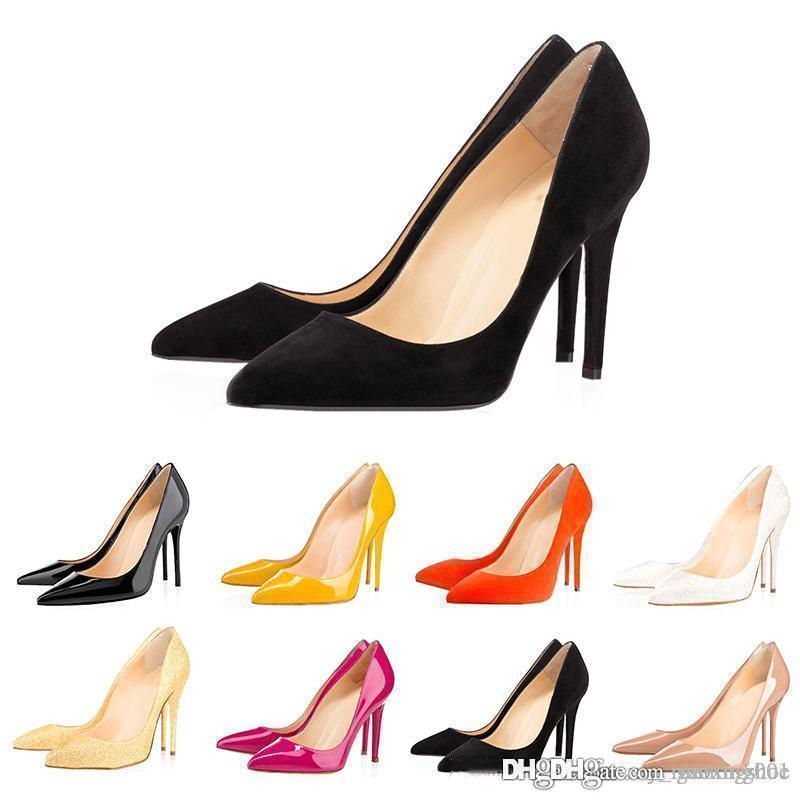 Lassen Sie Verschiffen rote untere hohe Absätze Frauen Kleidschuhe 8cm 10cm 12cm Luxus-Designer-Mode Nude schwarzer Leder spitze Zehen Pumpen Marke Schuh