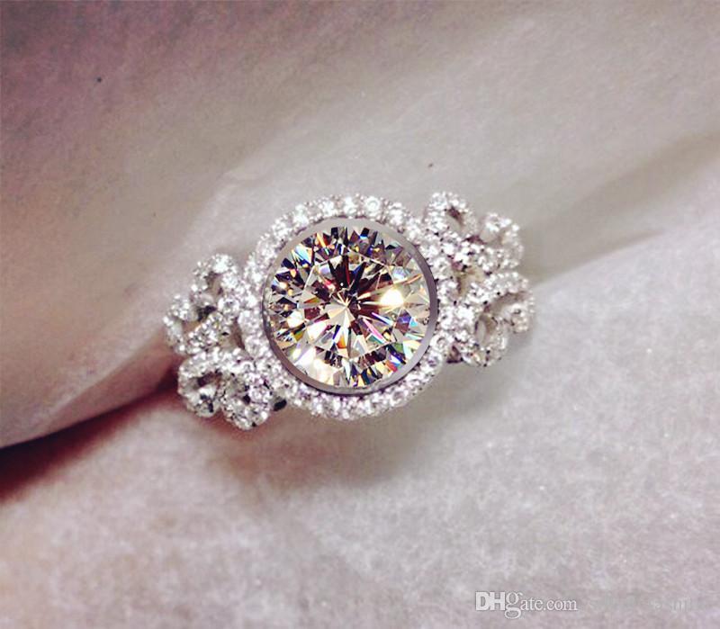 Vecalon Butterfly Style 2CT Diamonique Cz 925 Sterlingsilber-Verpflichtungs-Hochzeits-Ring für Frauen Fashion Jewelry