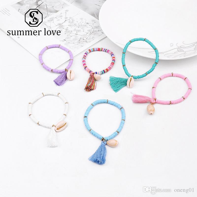 Nouvelle Mode Coloré Résine Bohême Élastique Tassel Bracelets Pour Femmes Naturel Shell À La Main Perles Bracelets Bracelet À La Mode Bijoux Cadeau