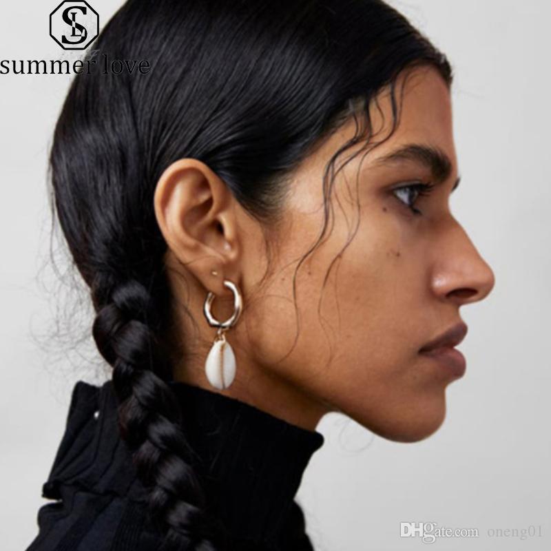 Heißer Verkauf 2 Teile / satz Geometrische Shell Baumeln Ohrring für Frauen Vergoldung Legierung Creolen Mode 2019 Sommer Strand Schmuck