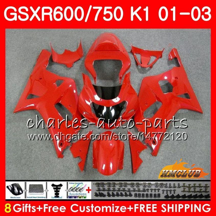 8Gifts Body for Suzuki GSXR 600 750 GSXR600 2001 2002 2003 4HC.76 GSX R750 GSXR-600 GSX-R750 K1 All Gloss Vermelho GSXR750 01 02 03 Kit de Feira