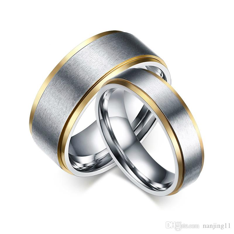 Classic Couple Wedding Rings For Men Women Titanium Steel Lover's Engagement Wedding Bands Anillo De Casamento CR-020