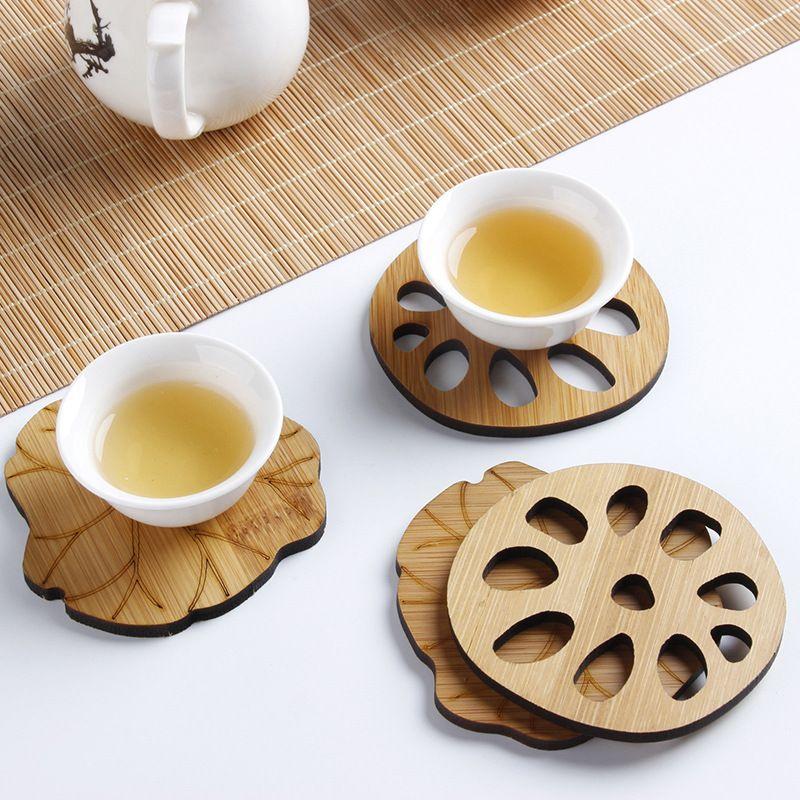 Sottobicchieri di tazza di bambù naturale a forma di foglia di loto tappetini resistenti al calore tappetini pad cinese Kong Fu accessori per il tè