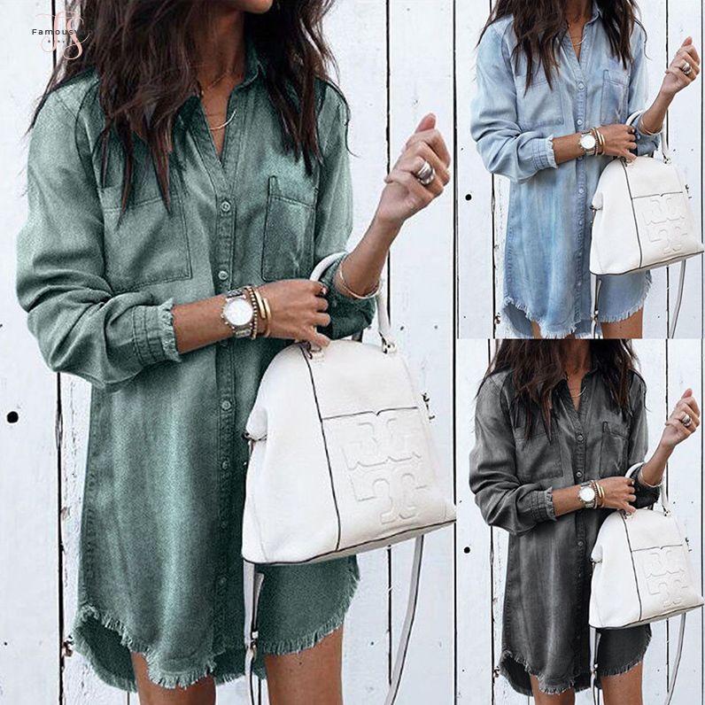 Donne Moda a lungo manica corta allentato denim camice abito estivo femminile casuale del mini vestito gira-giù la camicia Abiti